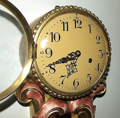 Antique Style Cartel Wall Clock Pink & Gilt Decorative Finish Shabby Chic 5