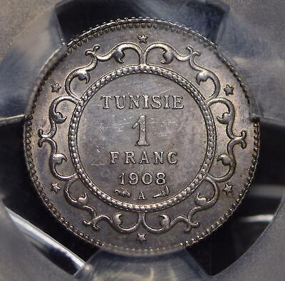 Tunisia 1908 AH 1326 Franc PCGS UNC lustrous PC0552 combine shipping 2