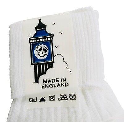Girls Socks 100% Nylon 6 pairs Turn over top White. UK made 3