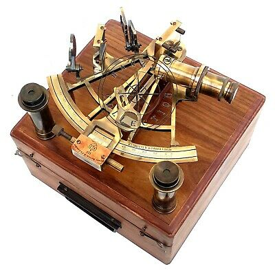 """8"""" Henry Barrow Nautical Sextant Antique Brass Ship Astrolabe With 2 Telescope 3"""