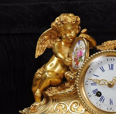 Japy Freres ~ Early French Ormolu And Sevres Porcelain Clock Set C1850 ~ Cherubs 6