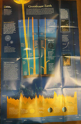 "2007 National Geographic Magazine 30"" X 20"" Map Of Changing Climates 00065"
