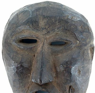 cLATE 1800s MIDDLE HILLS AREA HIMALAYAN CARVED WOODEN MASK, VERY IMPRESSIVE! #3 2