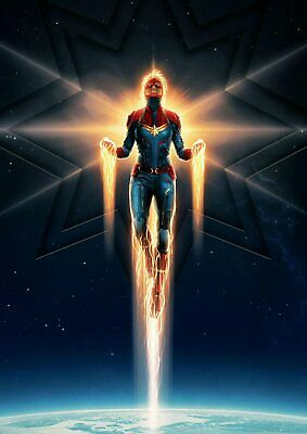 Marvel Comics: Captain Marvel  A5 A4 A3 Textless Movie Poster 4
