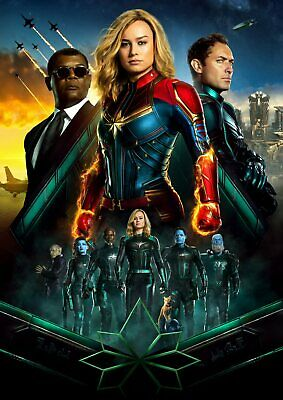 Marvel Comics: Captain Marvel  A5 A4 A3 Textless Movie Poster 2