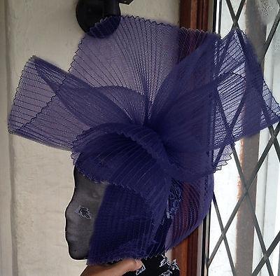 navy blue fascinator millinery burlesque wedding hat ascot race bridal british 1 2
