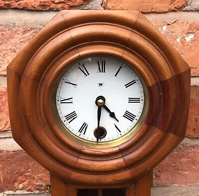 Beautiful Vintage Miniature Drop Dial Wall Clock In Wooden Case With Pendulum 2