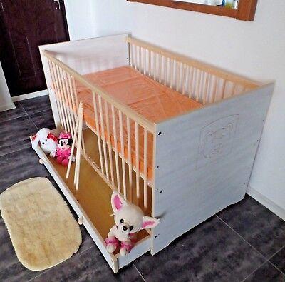 Babybett Kinderbett Gitterbett 70x140 Set Komplett Matratze