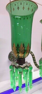 Antique Victorian Uranium Lustre Candle Chandelier Sconce Cut Cased Glass Gilt 2