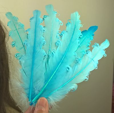 blue feather fascinator millinery hair clip wedding piece ascot race dance 1 2