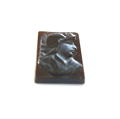 Antique Roman Glass Intaglio - Hand Carved Warrior - Italy - Late 19th Century 3