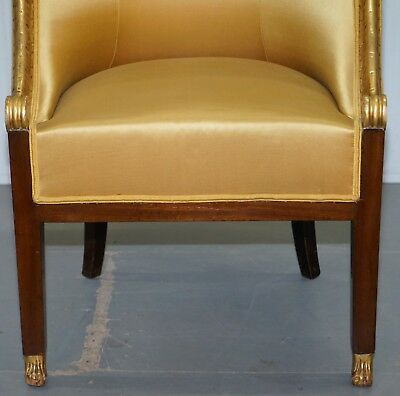 1870 French Empire Marquetry Inlaid Suite Pair Berger Armchairs & Settee Canape 6