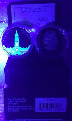 2019 Northern Lights Parliament Hill Glow-Dark $20 1OZ Silver Proof Coin Canada 9