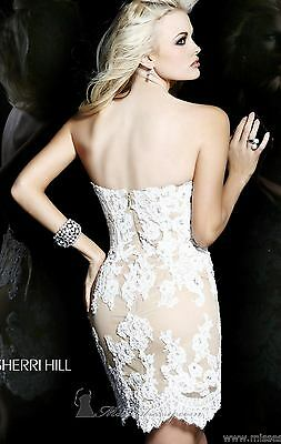 21187 Sherri Hill Ivory Crystal Lace Party Cocktail Prom Gown Dress Size USA 2 2