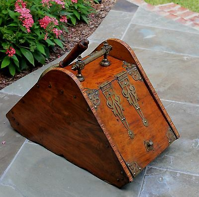 Antique French Burled & Inlaid Walnut Fireplace Hearth Coal Hod Scuttle Shovel 10