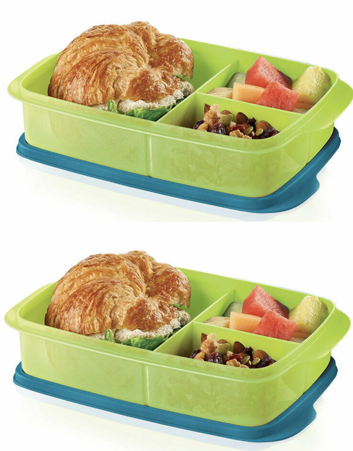 Two Brand New Tupperware Large Divided Lunch It Containers Green & Blue New 3