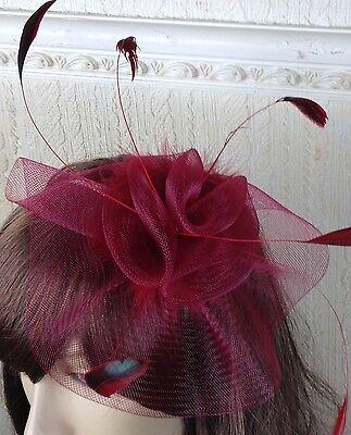 dark deep red feather hair headband fascinator millinery wedding hat ascot race 2
