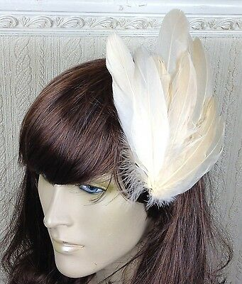 peach coral nude feather fascinator millinery hair clip wedding piece ascot race 2