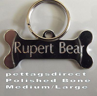 POLISHED DOG BONE Design Pet Id tag + 20mm Split Ring CLEAR Engraved FINISH 42mm 2