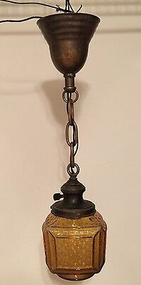 "20"" Long Vintage Antique Pendant Light Yost Socket Carmel Color Glass Globe 2"