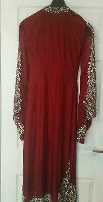 Deep red / Burgundy Silk  Heavy Jewelled Diamante work long kameez/pajama suit 5