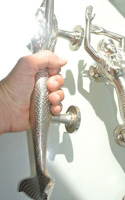 "PAIR large right MERMAID solid brass door PULL heavy handle 15"" SILVER L & R B 4"