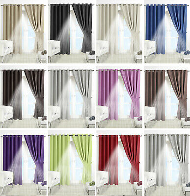 THERMAL BLACKOUT CURTAINS Eyelet Ring Top OR Pencil Pleat FREE Tie backs 12