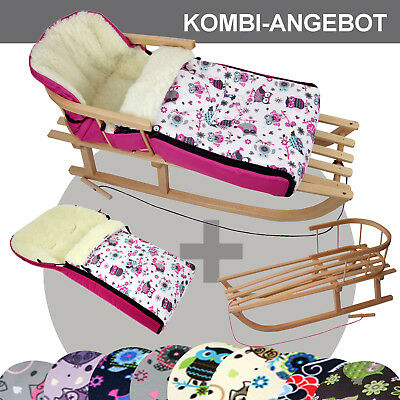 BAMBINIWELT Holzschlitten mit Winterfußsack (108cm) Jogger Buggy Wolle EULE