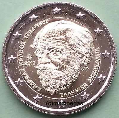 Griechenland 2 x 2 Euro 2019 Andreas Kalvos + Manolis Andronikos Gedenkmünzen 2