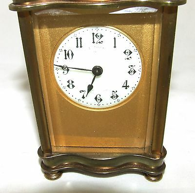 Antique French Bronzed Finish Brass Carriage Clock with Key : Working Order (31) 5