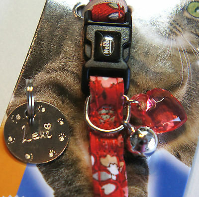 Designer Safety Cat Collar Bright Red Floral Design Heart Charm Bell & Id Tag 2
