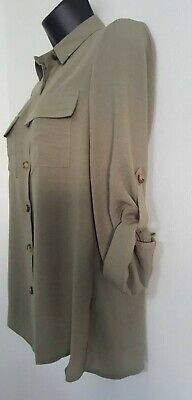 NEW ex DP Khaki Green Button Up Collared Casual Loose Fit Blouse Shirt Top 8-16 2