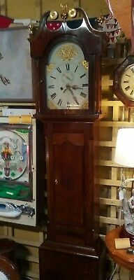 Antique grandfather clock, eight day movement, oak / mahogany case, strikes hour 9