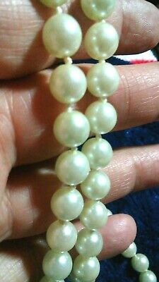 Antique or vintage Pearl or faux Pearl fancy clasp necklace 30 in end-to-end 3
