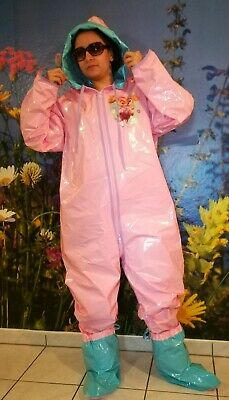 Adult Baby Strampler Overall Catsuit LACK PVC SCHLAFANZUG GUMMI SCHUHE GR.XL 3