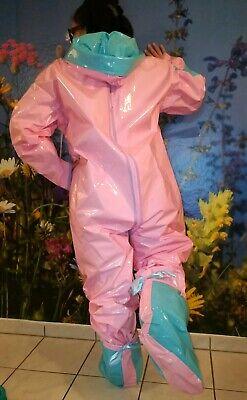 Adult Baby Strampler Overall Catsuit LACK PVC SCHLAFANZUG GUMMI SCHUHE GR.XL 11