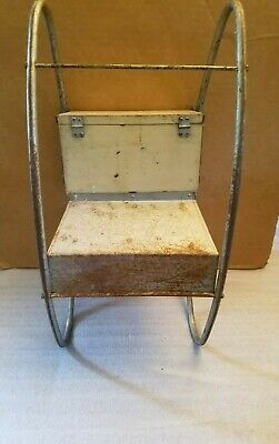 Antique Vintage Metal & Wood Oak Hill Co. Toddlers/Doll Rocker Playchair 8