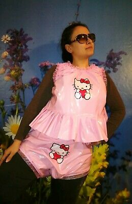 Adult Baby Set Pvc Slips+ Oberteil Gummihose Lack Windelhose Pants Hello Kitty 3
