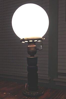 Wired Plugin Antique Wooden Table Lamp W/ Round Milk White Globe 4