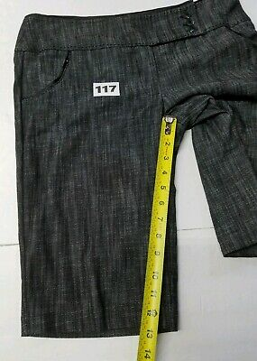 CHIME Indian Summer Short Pants 2 Pockets Black Gray Casual Women Size 11 9