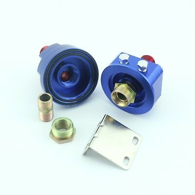 Universal AN 8 Oil Filter Cooler Sandwich Plate Adapter Relocation Kit Blue New