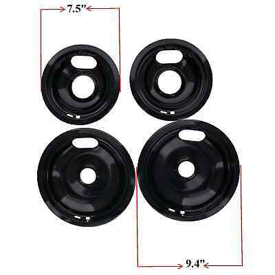 Replacement for Whirlpool Stove Drip Pans, Black W10288051 Two 6-Inch,Two 8-Inch 2