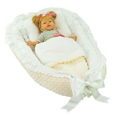 Elegant, exclusive baby nest, cocoon,decorated with decorative gipiure Lafel XL 10