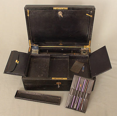 19th Century Leather Writing Box by W Leuchars 38 Piccadilly London 6