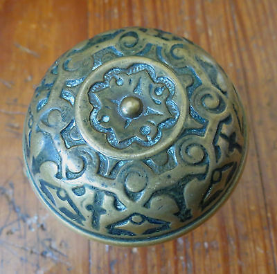 ANTIQUE BRASS VICTORIAN DOORKNOB - Geometric Design 4