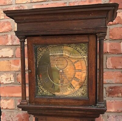 Antique Rare Flat Topped Longcase Grandfather Square Brass Dial 30 Hour 2