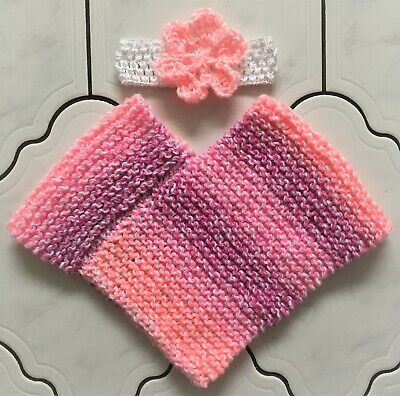 New Hand Knitted Baby Girls 0-3 Months up to 6 Months Poncho Hat and Headband 4