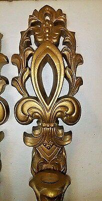 Mid Century Gold Wall Sconces Fleur De Lis Hollywood Regency Gia Inc. 12