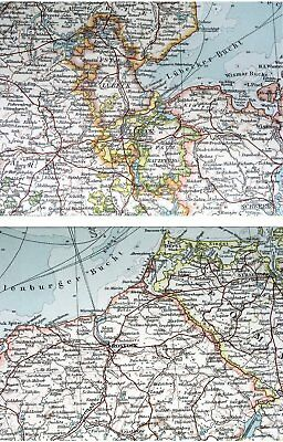 1907 Antique Map Of Schleswig-Holstein Mecklenburg Hamburg Germany Denmark 3