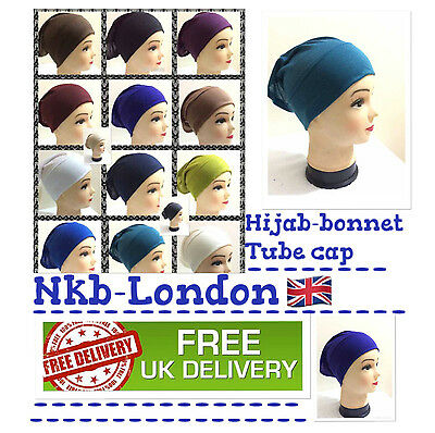 Women Ladies  Under Scarf Hijab Tube Bone  Bonnet Cap 14 Colours Stretchable 2
